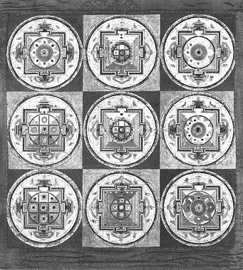 Tanka composizione di mandala (Nepal, XIX sec. d.C.), configurazioni sempre diverse, progressi- ve e compresenti. sorgente dell 'immagine: Rawson, P. (1978). The Art of Tantra. London: Ed. Thames & Hudson, 75.