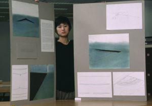 The Vietnam Veterans Memorial designer, Maya Lin, with her drawings.