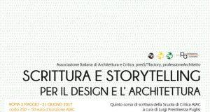 Quinto corso di scrittura della Scuola di Critica AIAC: Scrittura e storytelling per il design e l'architettura